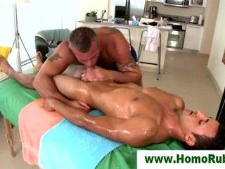 Straight guy sucked on massage table