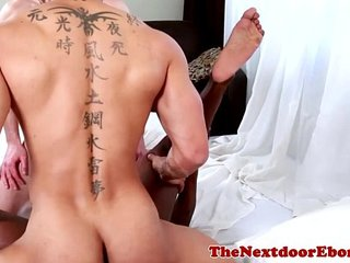 Interacial gay trio enjoy hardcore fun