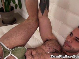 Tattooed unsaddled jock barebacking tight ass
