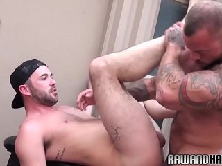 Ripped wolf sprays hairy otter with hot jizz