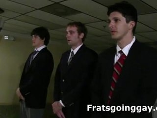 Frat college guys strip naked for gay initiation