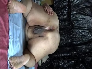 """Fat Japanese """"Shino"""" exposes the show to drip semen from anal pussy."""
