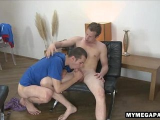 Gigantic uncut cock gets oral and anal servicing