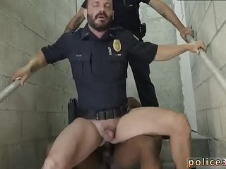 Naked police cum gay xxx Fucking the white officer with some